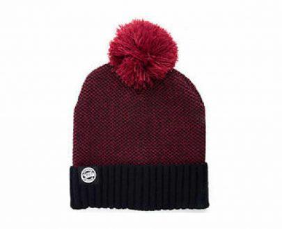 Fox Chunk Burgundy/Black Bobble Hat